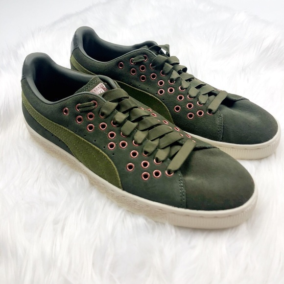 Puma Shoes - New Puma Green Suede Grommet Sneakers